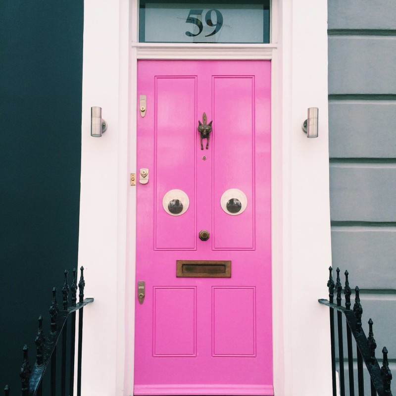 Pink with eyes - Porland Road, Notting Hill