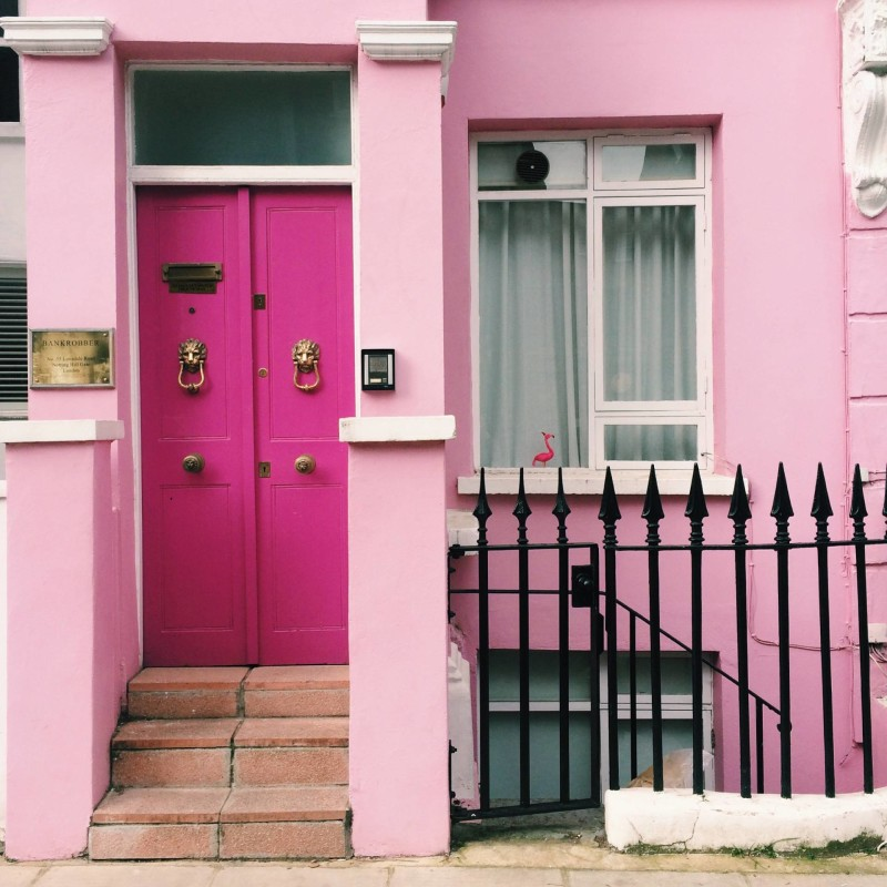 Pink with lions - Lonsdale Road, Notting Hill