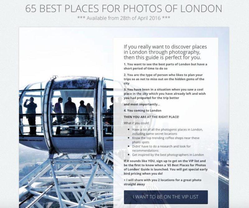 London Photo Guide Landing Page